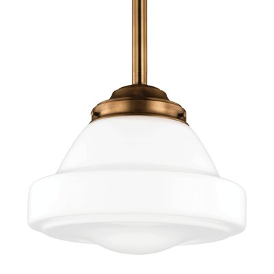 Varun 1-Light Schoolhouse Pendant Finish: Satin Nickel, Size: 10.25 H x 12 W x 12 D