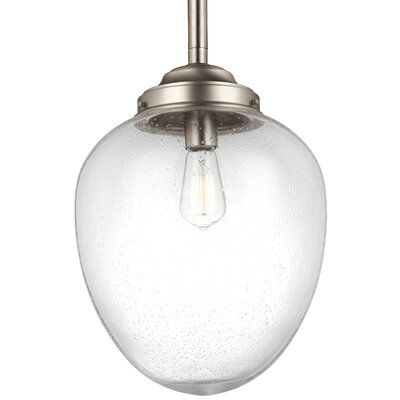 Ezra 1-Light Mini Pendant Finish: Satin Nickel, Size: 12.5 H x 8.88 W x 8.88 D