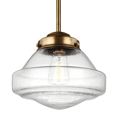 Varun Schoolhouse Pendant Finish: Satin Nickel, Size: 9 H x 10 W x 10 D