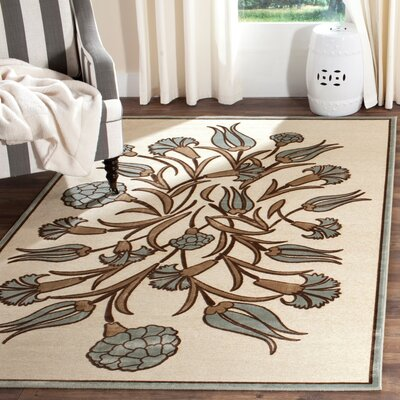 Floral Arabesque Hand-Loomed Ivory/Green Area Rug Rug Size: Rectangle 710 x 112