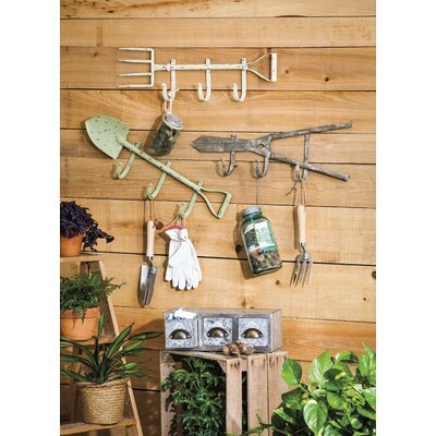 Pranav 3 Piece Metal Garden Tool Wall Hook Set