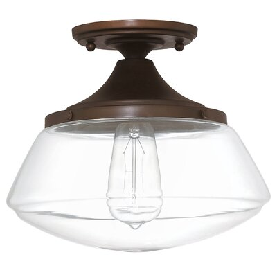 Arthur 1-Light Semi Flush Mount Finish: Burnished Bronze, Shade Color: White