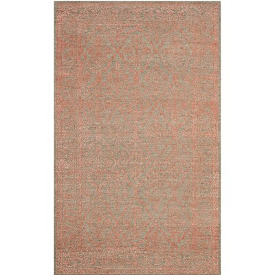 Lahcen Hand-Knotted Gray/Orange Area Rug Rug Size: Rectangle 9 x 12