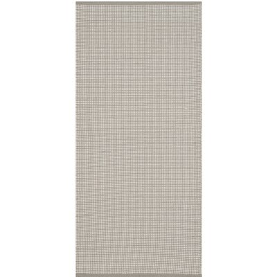 Oxbow Hand-Woven Cotton Ivory/Gray Area Rug Rug Size: Runner 23 x 10
