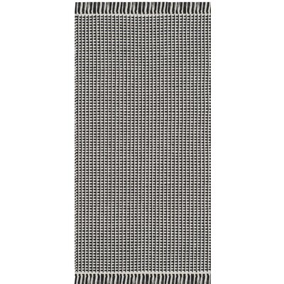 Oxbow Hand-Woven Cotton Ivory/Black Area Rug Rug Size: Runner 23 x 12