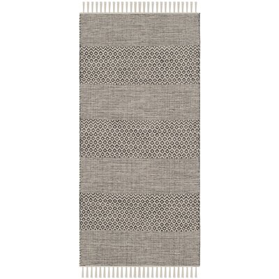 Oxbow Hand-Woven Ivory/Anthracite Area Rug Rug Size: 23 x 39