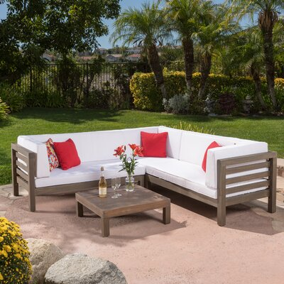 Birdsboro 4 Piece Sectional Seating Group With Cushion Fabric: White