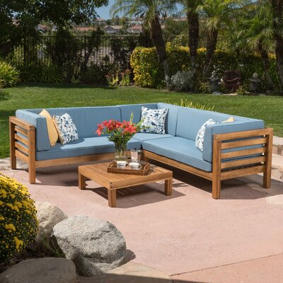Birdsboro 4 Piece Sectional Seating Group With Cushion Fabric: Blue
