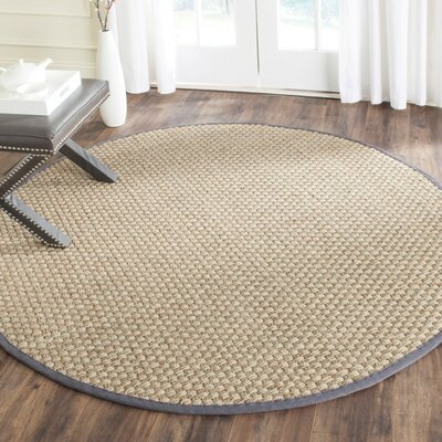 Binford Natural/Dark Gray Area Rug Rug Size: Round 10