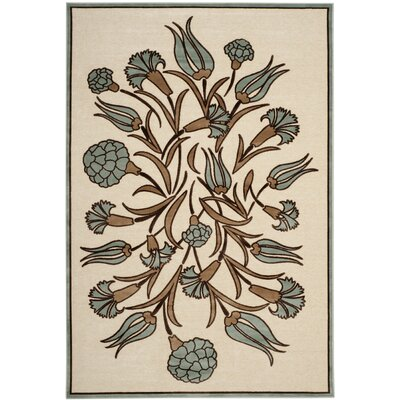 Floral Arabesque Hand-Loomed Ivory/Green Area Rug Rug Size: Rectangle 27 x 4