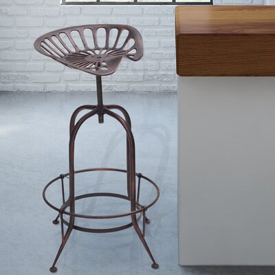 Sasser Adjustable Height Bar Stool Finish: Bronze