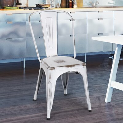 Monette Stackable Dining Side Chair Finish: White