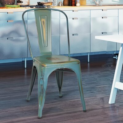 Monette Stackable Dining Side Chair Finish: Green