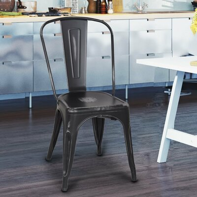 Monette Stackable Dining Side Chair Finish: Black