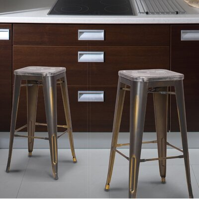 Monica 30 Bar Stool Base Finish: Copper