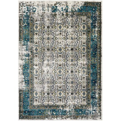 Deandra Blue/Yellow Area Rug Rug Size: Rectangle 53 x 76