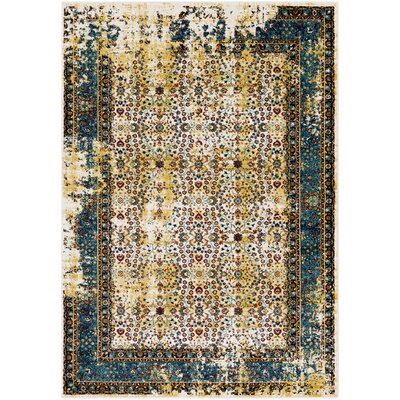Coventry Yellow/Blue Area Rug Rug Size: 53 x 76