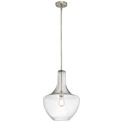Sutton Pendant Shade: Seeded Glass, Size: Large, Finish: Brushed Nickel