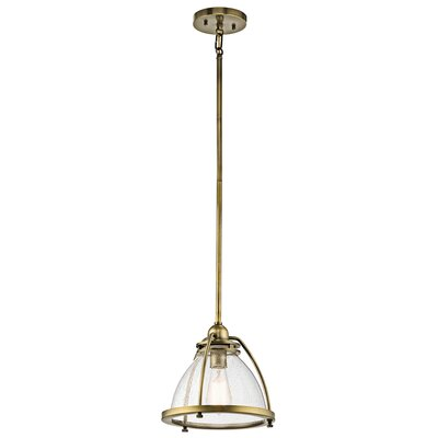 Bertram 1-Light Bowl Pendant Size: 13.25 H x 13 W x 13 D, Finish: Natural Brass