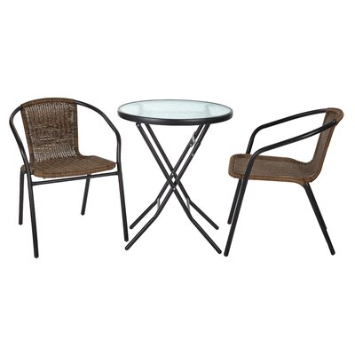 Chapman 3 Piece Bistro Set Finish: Black Frame with Brown Rattan