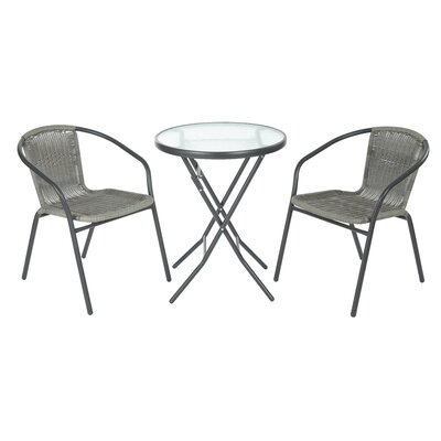 Chapman 3 Piece Bistro Set Finish: Gray Frame with Gray Rattan