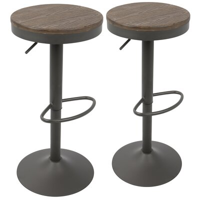 Chambord Adjustable Height Swivel Bar Stool Finish: Gray/Brown