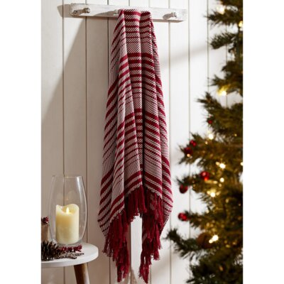 Whimsical Cane Stripe Woven Cotton Throw Blanket