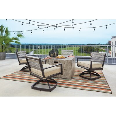 Lilah 5 Piece Dining Set with Firepit