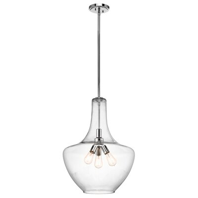 Jewell 3-Light Schoolhouse Pendant Finish: Chrome