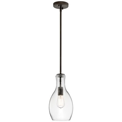 Jewell 1-Light Schoolhouse Pendant Finish: Olde Bronze, Shade Color: Clear