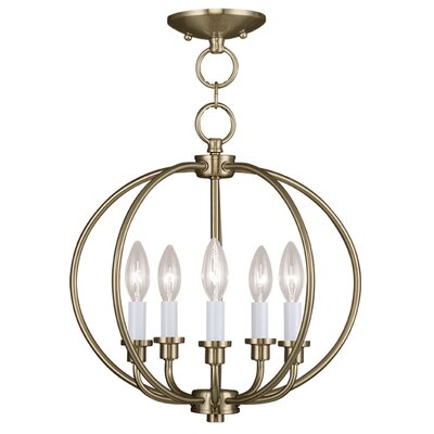 Naomie 5-Light Globe Pendant Finish: Antique Brass