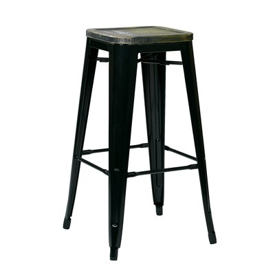 Isabel 30 Bar Stool Finish: Black, Upholstery: Ash Cameron