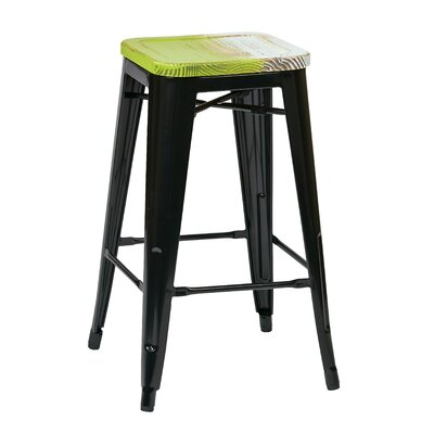 Isabel 26 Bar Stool Finish: Black, Upholstery: Pine Alice