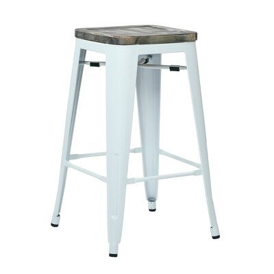 Isabel 26 inch Bar Stool Finish: White, Upholstery: Ash Crazy Horse