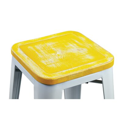 Isabel 30 Bar Stool Finish: White, Upholstery: Yellow Stone
