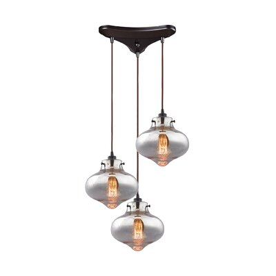 Vrinda 3-Light Cascade Pendant Shade Color: Clear