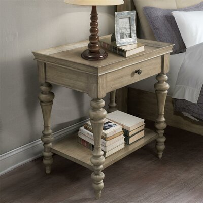 Paredes Wood Top Leg 1 Drawer Nightstand Color: Sun-drenched Acacia