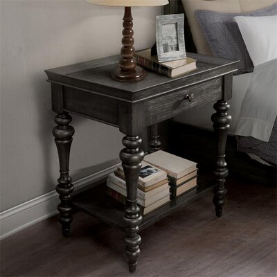 Eau Claire Wood Top Leg 1 Drawer Nightstand Finish: Ebonized Acacia
