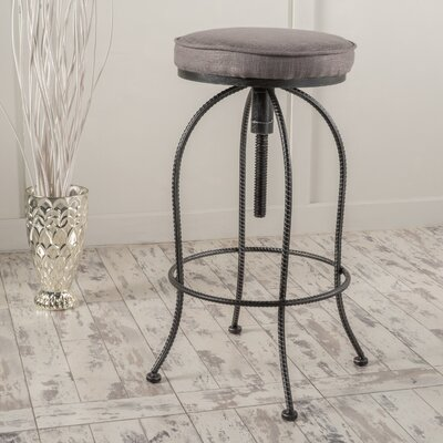 Earnestine Adjustable Height Swivel Bar Stool Upholstery: Gray Fabric