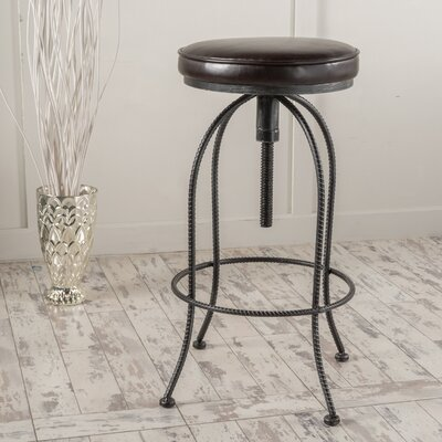 Benoit Adjustable Height Swivel Bar Stool Upholstery: Brown Leather