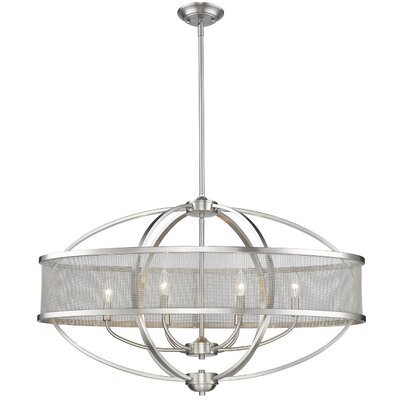 Tensed 6-Light Glass Shade Drum Pendant Finish: Pewter