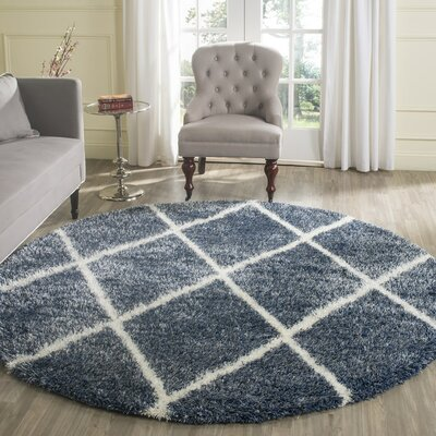 Hertha Blue Indoor Area Rug Rug Size: Round 67