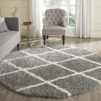 Hertha Gray Indoor Area Rug Rug Size: Round 67