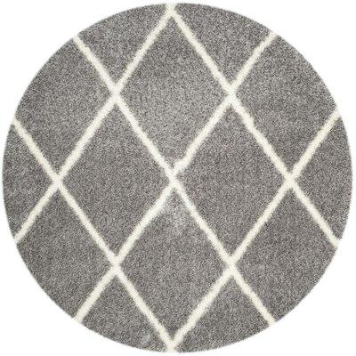 Macungie Trellis Gray Indoor Area Rug Rug Size: Round 67