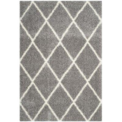 Macungie Trellis Gray Indoor Area Rug Rug Size: 53 x 76