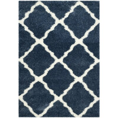 Macungie Blue / Ivory Indoor Area Rug Rug Size: 53 x 76