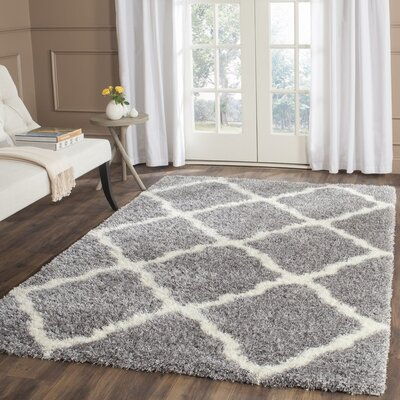 Macungie Geometric Gray Indoor Area Rug Rug Size: 53 x 76