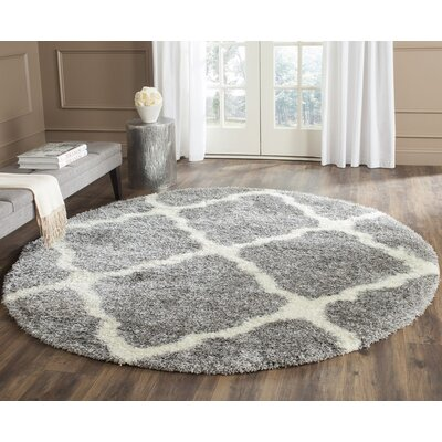 Macungie Geometric Gray Indoor Area Rug Rug Size: Round 67