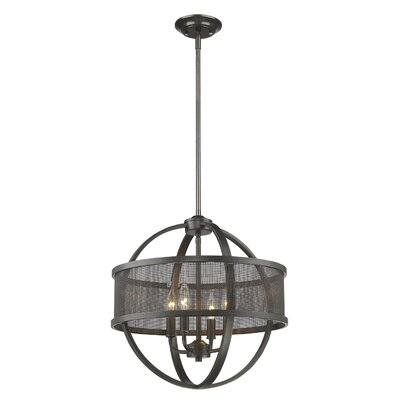 Carroll Valley 4-Light Drum Pendant Finish: Etruscan Bronze