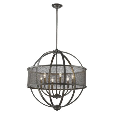 Tensed 6-Light Drum Pendant Finish: Etruscan Bronze